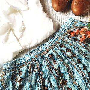 VTG | Multi-color Diamond Print Ethnic Maxi Skirt